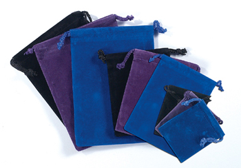 Magickal Winds Purple 3 inch velour pouch with drawstring